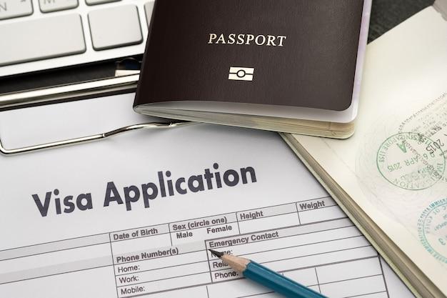 Modulo di richiesta di visto per viaggiare