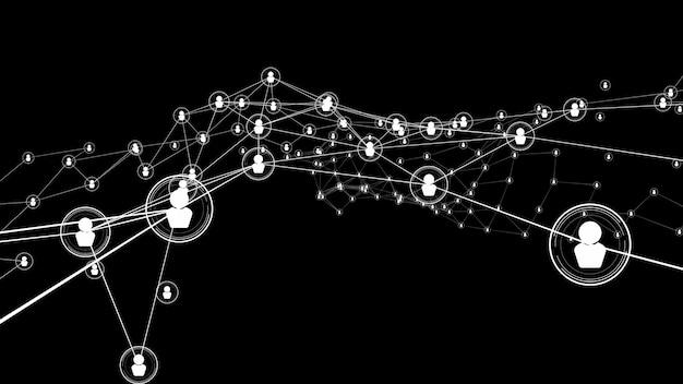 Persone visionarie in rete di collegamento e connessione