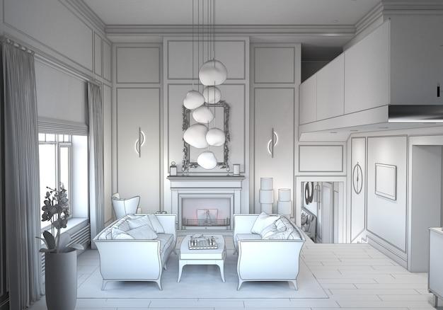 Visualizzazione dell'illustrazione 3d dell'interior design residenziale moderno cg render