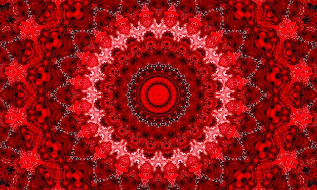 Caleidoscopio frattale rosso sangue vivido, opera d'arte digitale per la progettazione grafica creativa