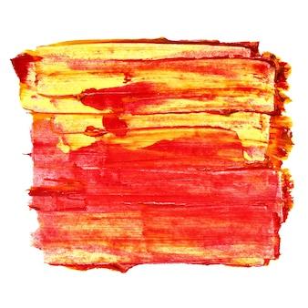 Tratti di pennello strutturati giallo-rosso vividi isolati su sfondo bianco