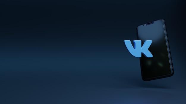 Logo vk design semplice minimo per l'icona dei social media con il rendering 3d dello spazio della copia del cellulare cell