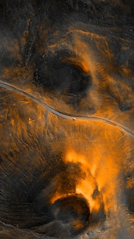 La regione del vulcano in islanda ha sparato un drone sullo sfondo del cellulare