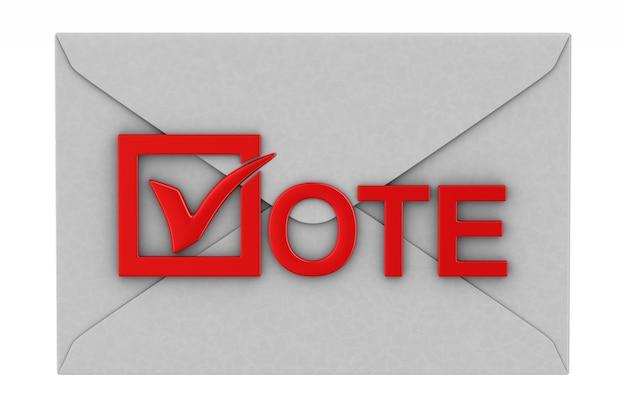 Vota per posta su bianco. illustrazione 3d isolata