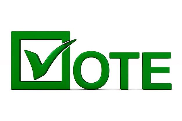 Segno di voto isolato su bianco