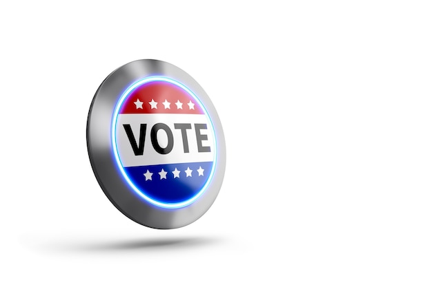Vota ora il pulsante su sfondo bianco