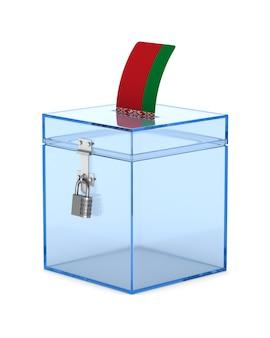 Votazione in bielorussia su sfondo bianco. illustrazione 3d isolata