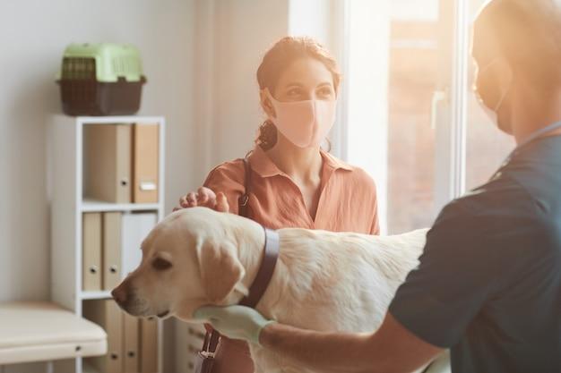 Mezzo busto ritratto di giovane donna che indossa la maschera mentre parla con il veterinario che esamina il cane presso la clinica veterinaria, scena illuminata dalla luce del sole, spazio di copia