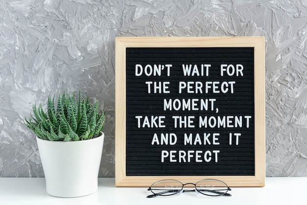 Non aspettare il momento perfetto, cogli l'attimo e rendilo perfetto. citazione motivazionale sulla bacheca, fiore succulento