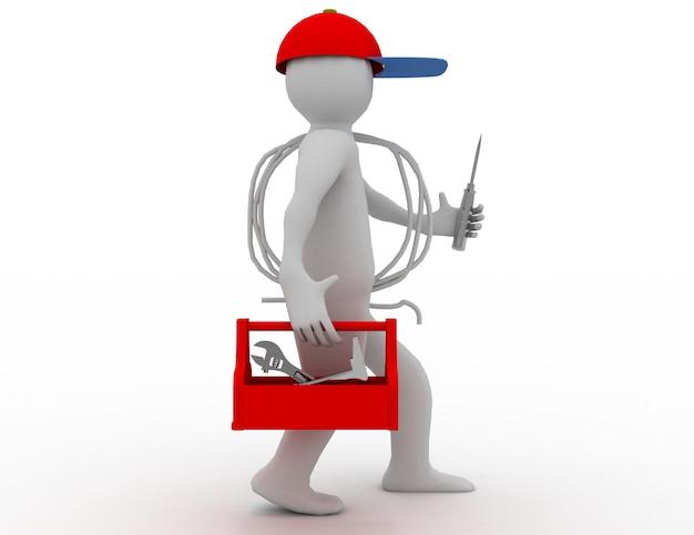 Elettricista ambulante con cassetta degli attrezzi, cavo e cappuccio. 3d reso illustrazione