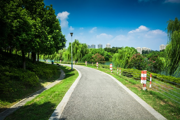 Passaggio pedonale in giardino a bangkok, tailandia