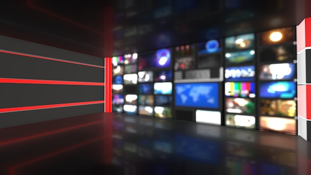 Wall background_television screens_used news studio background