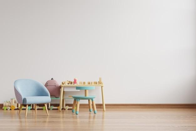 Parete nella stanza dei bambini sul muro bianco colori background. 3d rendering