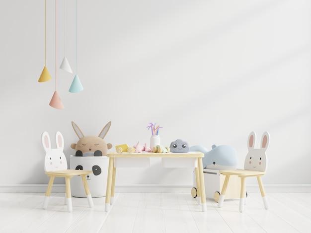 Parete nella stanza dei bambini in bianco wall.3d rendering