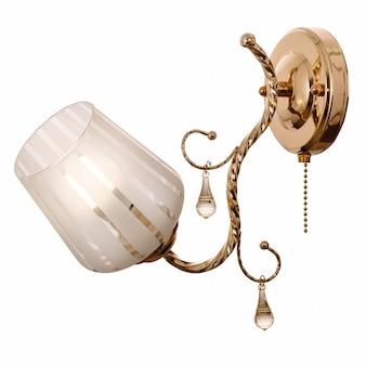 Lampada da parete con paralume in vetro smerigliato bianco e trasparente in metallo dorato