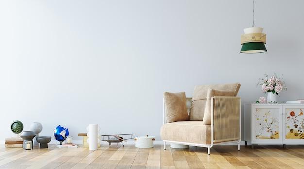 Muro mock up in semplice design d'interni con set decorativo su pavimento in legno e poltrona 3d rendering