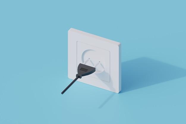 Spina a muro singolo oggetto isolato. 3d render illustrazione isometrica