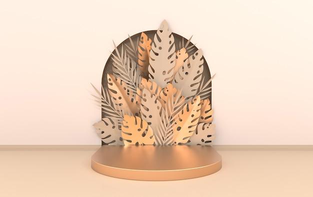 Scena da parete con arco di carta tropicale palma monstera foglie piattaforma podio per la presentazione del prodotto