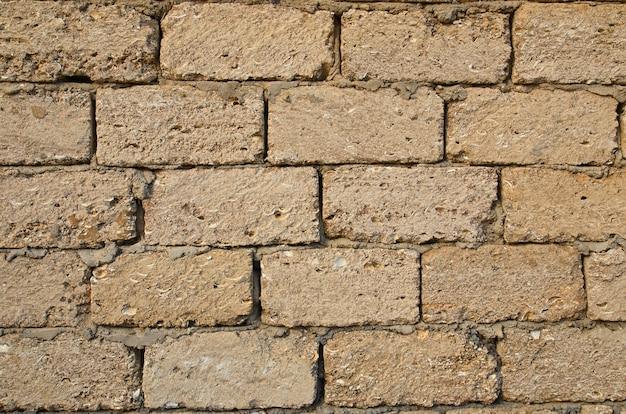 Muro di mattoni di pietra da vicino