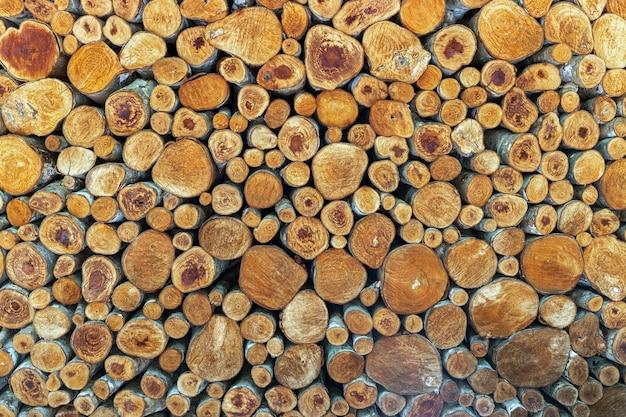 Le pareti sono decorate con tronchi. sfondo di legno