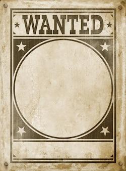Poster ricercato isolato su sfondo grunge