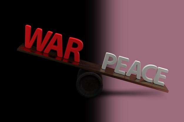 Concetto di guerra o pace con sfondo sfumato. rendering 3d