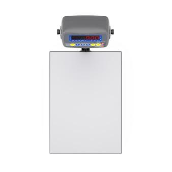 Bilance da carico digitali del magazzino su sfondo bianco. rendering 3d