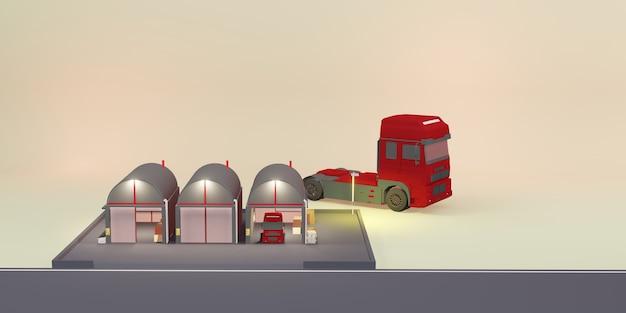 Magazzino logistico magazzino moderno negozio di cartoni animati illustrazione 3d