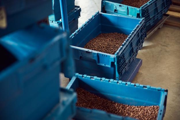 Magazzino con chicchi di caffè arabica freschi in contenitori di plastica blu