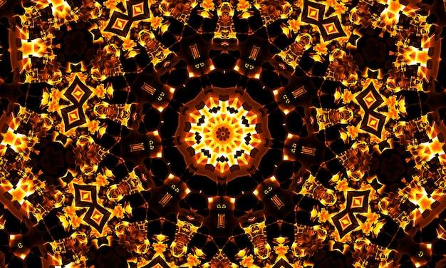 Il caleidoscopio di luce calda, sotto forma di forme geometriche
