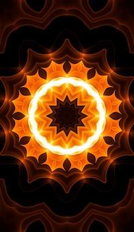 Caleidoscopio giallo caldo. stampa tie dye autunnale a spirale. trama caleidoscopica. abito gitano. colori caldi mix di colori design. colori caldi indonesiani. immagine verticale di disegno di turbinio di hippy luminosi