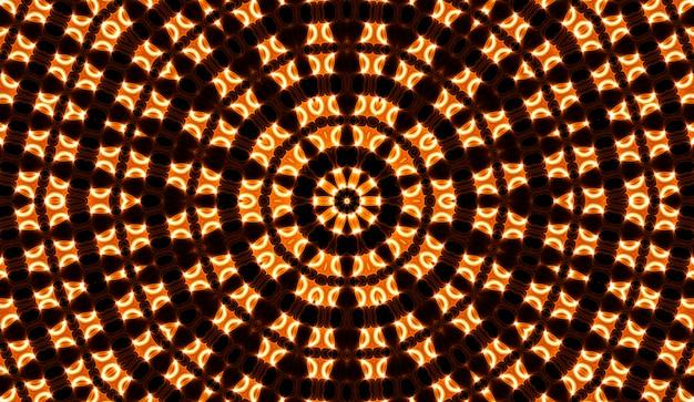 Caleidoscopio giallo caldo. stampa tie dye autunnale a spirale. trama caleidoscopica. abito gitano. colori caldi mix di colori design. design in tessuto indonesiano dai colori caldi. hippies luminosi ricciolo design colorato.