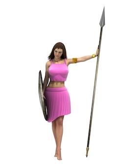 Guerriero donna personaggio rendering 3d
