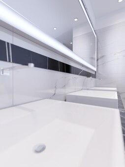 Lavabi con specchio illuminato. rendering 3d