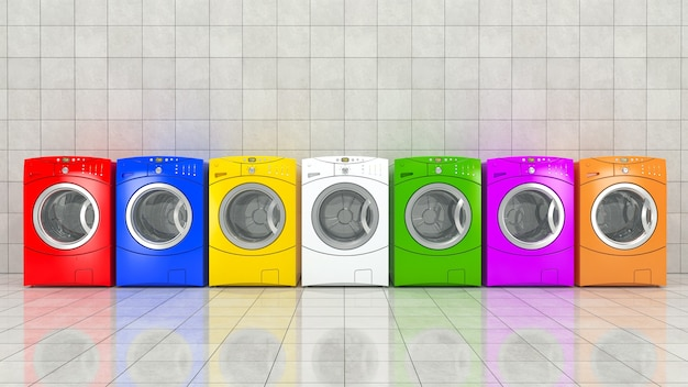 Rendering 3d della lavatrice