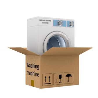 Lavatrice in scatola su uno spazio bianco. illustrazione 3d isolata