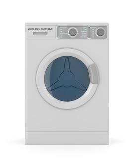 Lavatrice isolata su bianco. illustrazione 3d