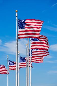 Cerchio di bandiere di washington monument in dc usa