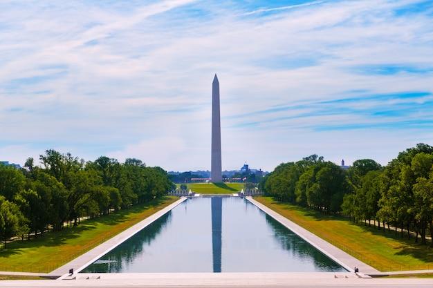 Stagno di riflessione di mattina del monumento di washington