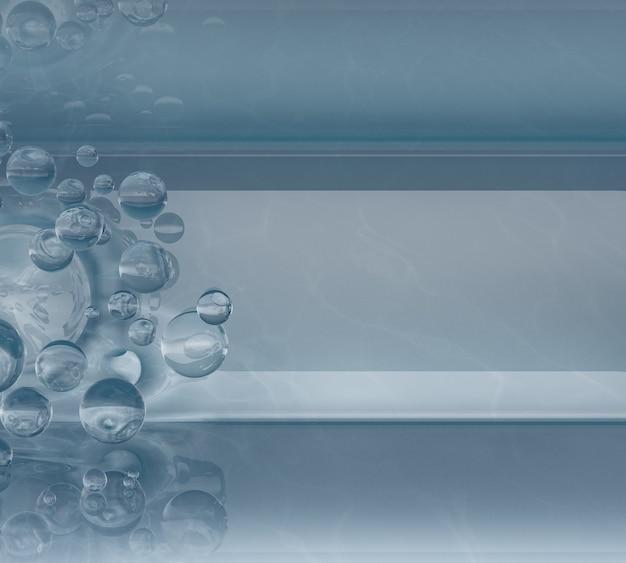 I palloncini d'acqua volano in aria e si schiantano contro pareti e soffitti. sfondo 3d. render