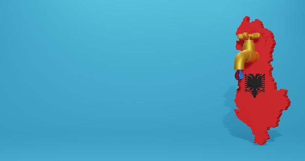 Crisi idrica e stagione secca in albania per infografiche e contenuti dei social media in rendering 3d