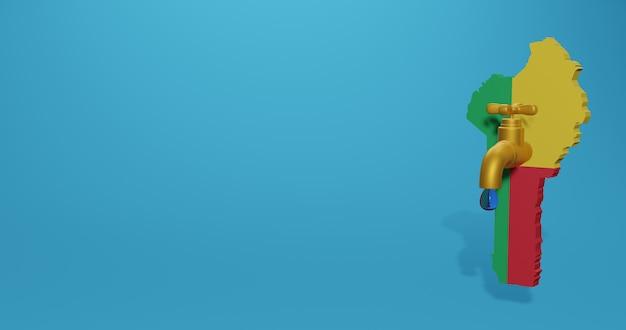 Crisi idrica e stagione secca in benin per infografiche e contenuti sui social media in rendering 3d