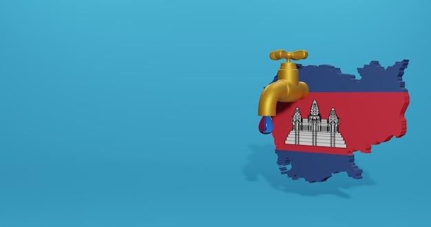 Crisi idrica e stagione secca in cambogia per infografica nel rendering 3d
