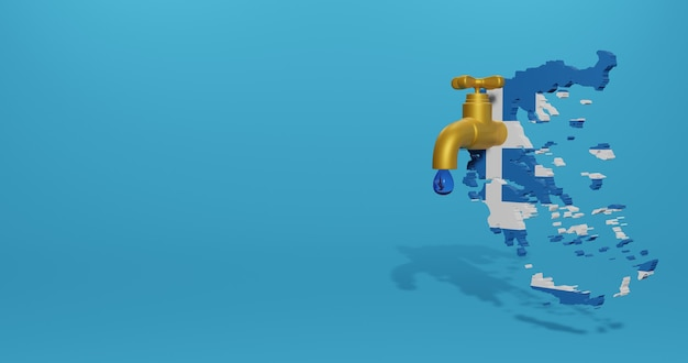 Crisi idrica e stagione secca in grecia per infografiche e contenuti dei social media nel rendering 3d