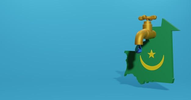 Crisi idrica e stagione secca in mauritania per infografiche nel rendering 3d