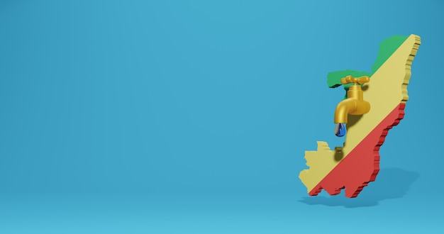 Crisi idrica e stagione secca in repubblica del congo per infografiche e contenuti dei social media nel rendering 3d