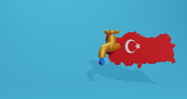 Crisi idrica e stagione secca in turchia per infografiche e contenuti sui social media nel rendering 3d