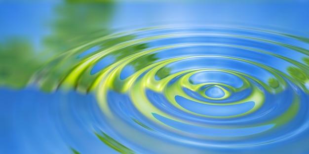 Primo piano della spruzzata della goccia di acqua sull'illustrazione 3d della superficie dell'acqua