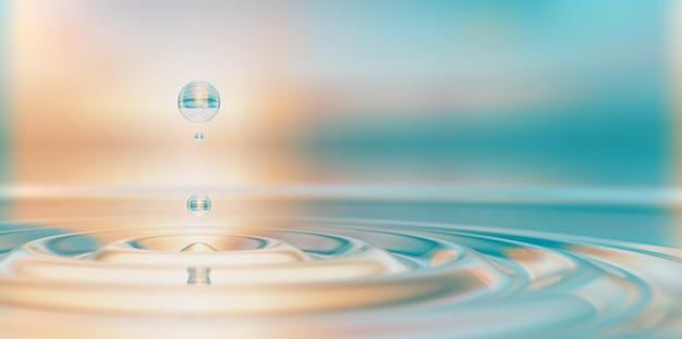 Primo piano della spruzzata della goccia d'acqua sull'illustrazione 3d della superficie dell'acqua