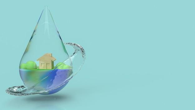 La goccia d'acqua per la giornata mondiale dell'acqua per il rendering 3d dei contenuti di vacanza.